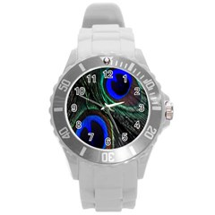Peacock Feather Round Plastic Sport Watch (L)