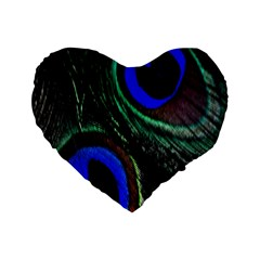 Peacock Feather Standard 16  Premium Heart Shape Cushions