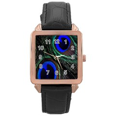 Peacock Feather Rose Gold Leather Watch