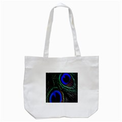 Peacock Feather Tote Bag (White)
