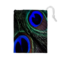 Peacock Feather Drawstring Pouches (Large)