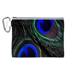 Peacock Feather Canvas Cosmetic Bag (L)