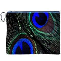 Peacock Feather Canvas Cosmetic Bag (XXXL)