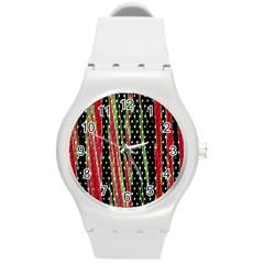Alien Animal Skin Pattern Round Plastic Sport Watch (M)