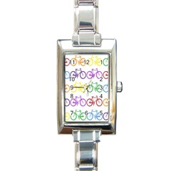 Rainbow Colors Bright Colorful Bicycles Wallpaper Background Rectangle Italian Charm Watch