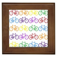 Rainbow Colors Bright Colorful Bicycles Wallpaper Background Framed Tiles