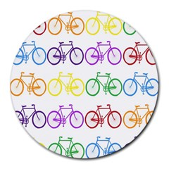 Rainbow Colors Bright Colorful Bicycles Wallpaper Background Round Mousepads