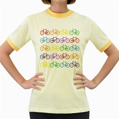 Rainbow Colors Bright Colorful Bicycles Wallpaper Background Women s Fitted Ringer T-Shirts