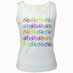 Rainbow Colors Bright Colorful Bicycles Wallpaper Background Women s White Tank Top