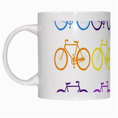 Rainbow Colors Bright Colorful Bicycles Wallpaper Background White Mugs