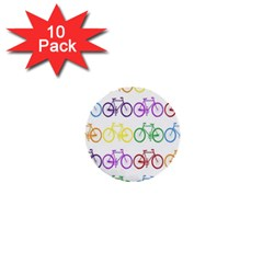 Rainbow Colors Bright Colorful Bicycles Wallpaper Background 1  Mini Buttons (10 Pack)