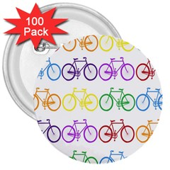 Rainbow Colors Bright Colorful Bicycles Wallpaper Background 3  Buttons (100 pack)