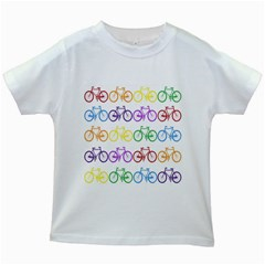 Rainbow Colors Bright Colorful Bicycles Wallpaper Background Kids White T Shirts