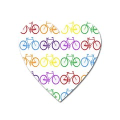 Rainbow Colors Bright Colorful Bicycles Wallpaper Background Heart Magnet