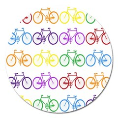 Rainbow Colors Bright Colorful Bicycles Wallpaper Background Magnet 5  (Round)