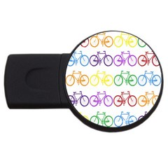 Rainbow Colors Bright Colorful Bicycles Wallpaper Background USB Flash Drive Round (1 GB)