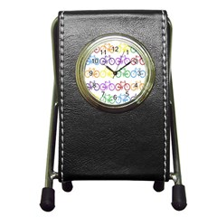 Rainbow Colors Bright Colorful Bicycles Wallpaper Background Pen Holder Desk Clocks