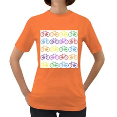 Rainbow Colors Bright Colorful Bicycles Wallpaper Background Women s Dark T Shirt