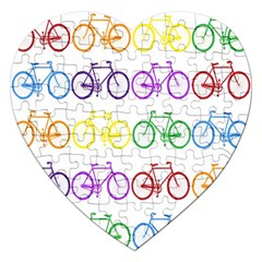 Rainbow Colors Bright Colorful Bicycles Wallpaper Background Jigsaw Puzzle (Heart)
