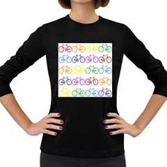 Rainbow Colors Bright Colorful Bicycles Wallpaper Background Women s Long Sleeve Dark T Shirts