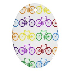 Rainbow Colors Bright Colorful Bicycles Wallpaper Background Oval Ornament (Two Sides)