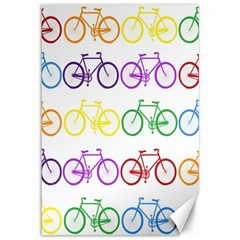 Rainbow Colors Bright Colorful Bicycles Wallpaper Background Canvas 12  x 18