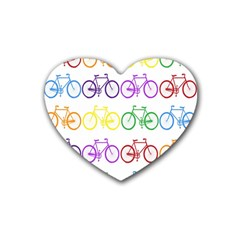 Rainbow Colors Bright Colorful Bicycles Wallpaper Background Rubber Coaster (heart)