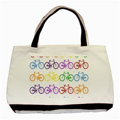 Rainbow Colors Bright Colorful Bicycles Wallpaper Background Basic Tote Bag (two Sides)