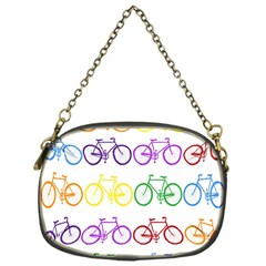 Rainbow Colors Bright Colorful Bicycles Wallpaper Background Chain Purses (One Side)