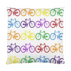 Rainbow Colors Bright Colorful Bicycles Wallpaper Background Standard Cushion Case (One Side)