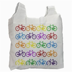 Rainbow Colors Bright Colorful Bicycles Wallpaper Background Recycle Bag (Two Side)