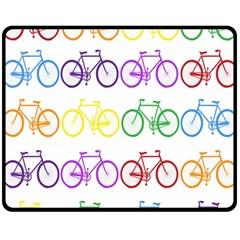 Rainbow Colors Bright Colorful Bicycles Wallpaper Background Fleece Blanket (medium)