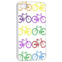 Rainbow Colors Bright Colorful Bicycles Wallpaper Background Apple iPhone 4/4s Seamless Case (White)