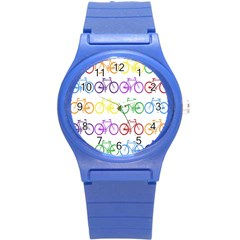 Rainbow Colors Bright Colorful Bicycles Wallpaper Background Round Plastic Sport Watch (S)