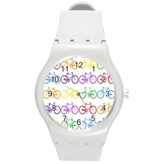 Rainbow Colors Bright Colorful Bicycles Wallpaper Background Round Plastic Sport Watch (M)