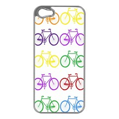 Rainbow Colors Bright Colorful Bicycles Wallpaper Background Apple iPhone 5 Case (Silver)