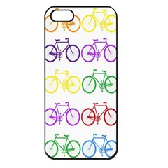 Rainbow Colors Bright Colorful Bicycles Wallpaper Background Apple iPhone 5 Seamless Case (Black)
