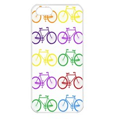 Rainbow Colors Bright Colorful Bicycles Wallpaper Background Apple iPhone 5 Seamless Case (White)