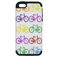 Rainbow Colors Bright Colorful Bicycles Wallpaper Background Apple iPhone 5 Hardshell Case (PC+Silicone)