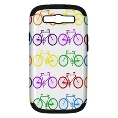 Rainbow Colors Bright Colorful Bicycles Wallpaper Background Samsung Galaxy S Iii Hardshell Case (pc+silicone)