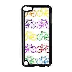 Rainbow Colors Bright Colorful Bicycles Wallpaper Background Apple iPod Touch 5 Case (Black)