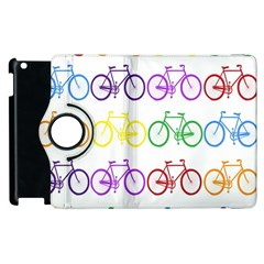 Rainbow Colors Bright Colorful Bicycles Wallpaper Background Apple iPad 2 Flip 360 Case