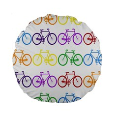 Rainbow Colors Bright Colorful Bicycles Wallpaper Background Standard 15  Premium Round Cushions