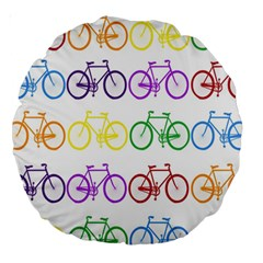 Rainbow Colors Bright Colorful Bicycles Wallpaper Background Large 18  Premium Round Cushions