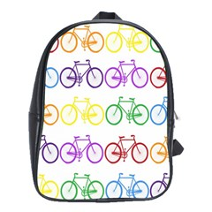 Rainbow Colors Bright Colorful Bicycles Wallpaper Background School Bags (XL)