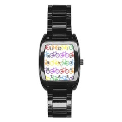 Rainbow Colors Bright Colorful Bicycles Wallpaper Background Stainless Steel Barrel Watch
