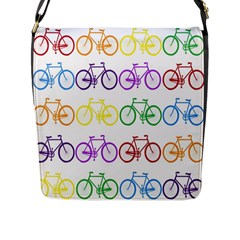 Rainbow Colors Bright Colorful Bicycles Wallpaper Background Flap Messenger Bag (l)