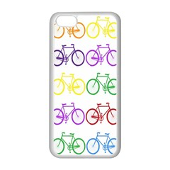 Rainbow Colors Bright Colorful Bicycles Wallpaper Background Apple iPhone 5C Seamless Case (White)