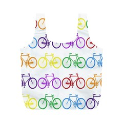 Rainbow Colors Bright Colorful Bicycles Wallpaper Background Full Print Recycle Bags (M)