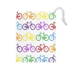 Rainbow Colors Bright Colorful Bicycles Wallpaper Background Drawstring Pouches (Large)